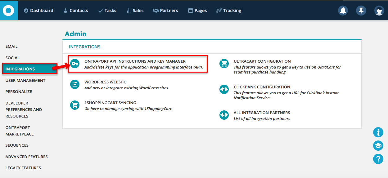 Locate Your Api In Ontraport 10 Minute Funnels Support